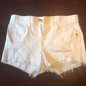 Express cut off white jean shorts